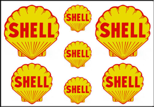 1 1//2 3//4 INCH SHELL GAS OIL WATERSLIDE DECALS STICKERS