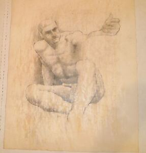 Nude-Male-Sitting-with-Arm-Extended-Mixed-Media-Drawing-1964-August-Mosca