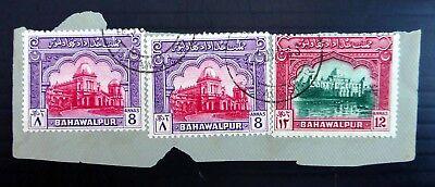 British Colonies & Territories Delicious Bahawalpur 1948 G.vi 8a X 2 &12a Sg27/8 On Piece Fine/used Ef12