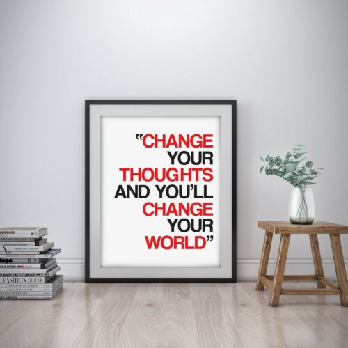 Change your thought Inspirational Wall Art Print Motivational Quote Poster Decor