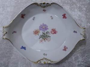 DDR-Porcelana-Aelteste-Volkstedt-Cuenco-Vintage-Mariposas-Flores