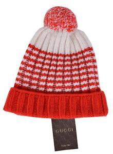 3ed72654621aa NEW Gucci Men s 399568 100% Wool Red Cream Striped Beanie Ski Hat S ...