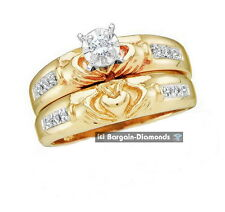 claddagh diamond bridal 2 ring 10K gold wedding band Irish heart hands crown