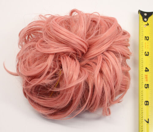 7/'/' Scrunchie Puff Elastic Coral Pink Cosplay Wig Hair Bun Accessory NEW