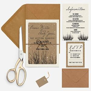 RUSTIC-WOODLAND-textured-and-kraft-wedding-invitation-package-with-envelopes