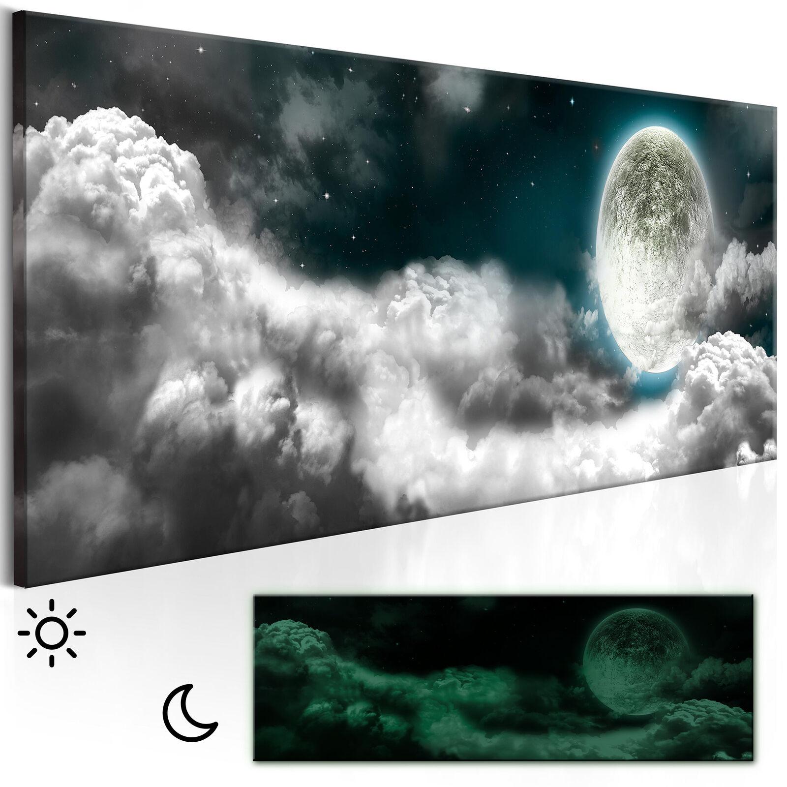 LEINWAND BILDER Mond Natur Himmel Wolke WANDBILDER XXL Wohnzimmer Nachtleuchtend