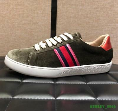 British Mens Casual Lace Up Board Shoes Leather Stripes Round Toe Breathable