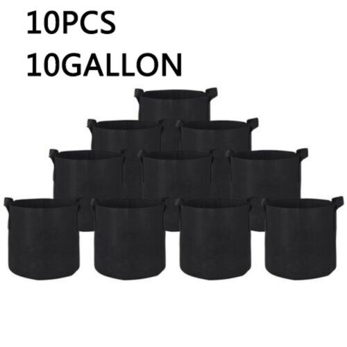 100Pack Plant Grow Bags Garden Thickened Non-Woven Aeration Fabric Pots Containe