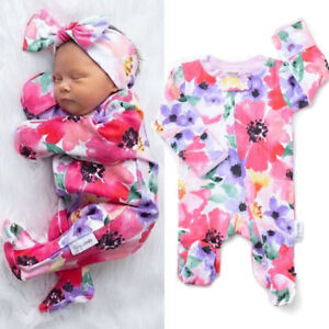 US Newborn Infant Baby Girl Floral Hooded Romper Jumpsuit Zipper Clothes Autumn