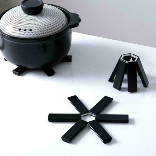 1X Black Foldable Non-Slip Heat Resistant Pad Trivet Sale Pan Pot Mat Hot G8J3