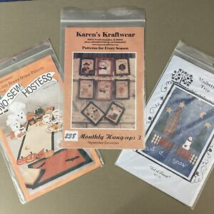 Lot of 3 Fusible Applique Patterns Christmas Halloween Thanksgiving euc