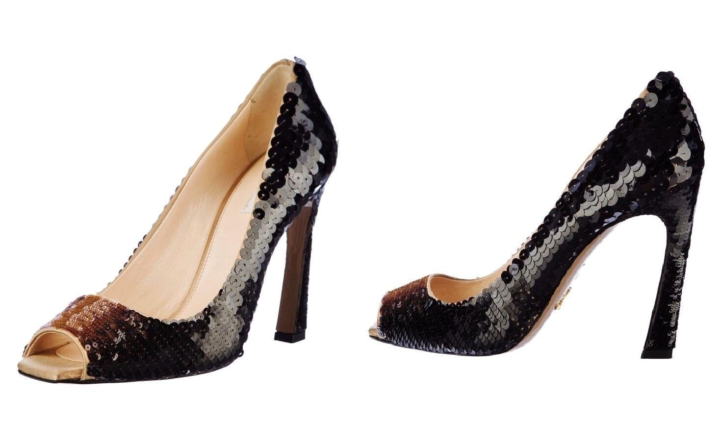 PRADA ~ SEQUIN open toes HEELS ~ US: 8-8.5 ; EUR: 38-38.5 * AUTHENTIC