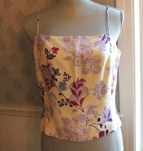 Vintage-1990s-to-2000s-Ann-Taylor-Purple-and-Ivory-Floral-Silk-Women-039-s-Top
