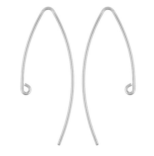 9ct WHITE GOLD EARRING V EAR DROPPER DROP WIRE /& RING JEWELLERY MAKING 35mm