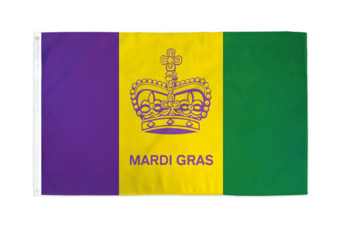 Details about  /Mardi Gras Flag 3x5 Carnival New Orleans NOLA Crown Beads Masqurade Mask