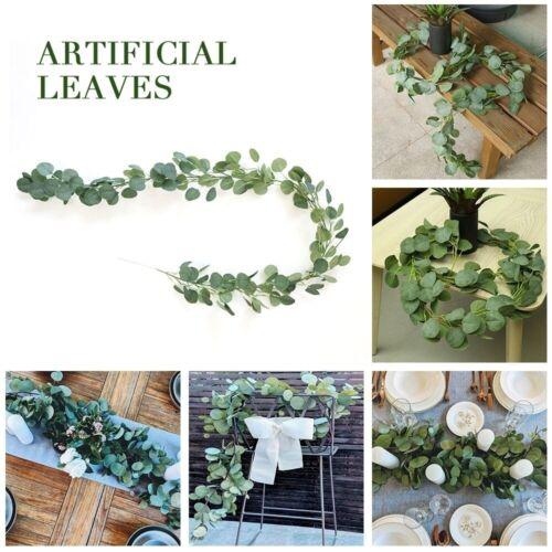 2m Artificial Fake Eucalyptus Garland Long Leaf Plant Greenery Foliage Decor UK