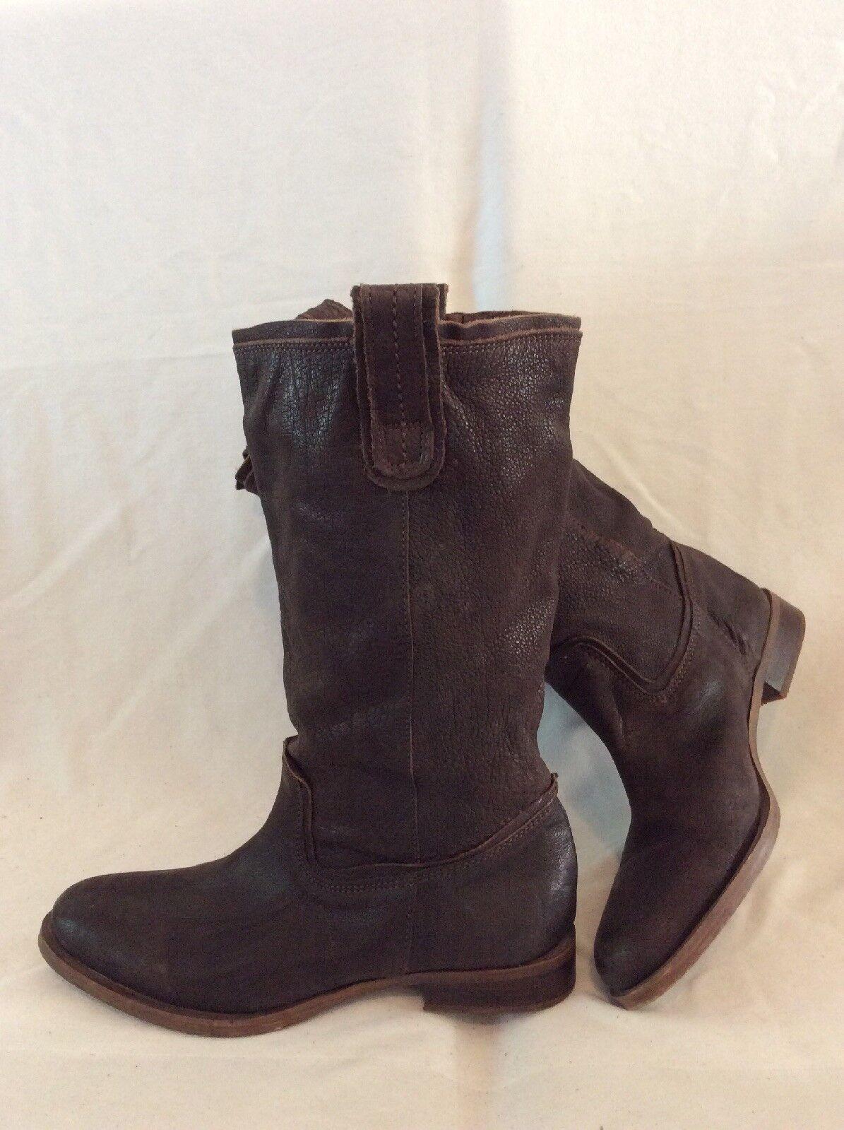 Mexx Dark braun Mid Calf Leather Stiefel Größe 39