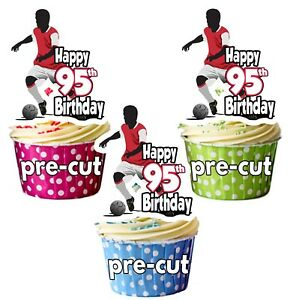 Image Is Loading 95th Birthday Mens Football Themed Edible Cup Cake