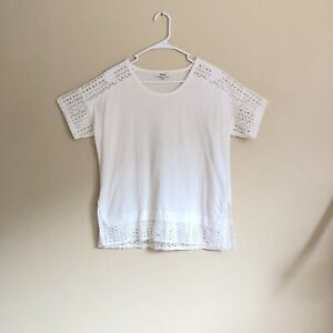 75-Madewell-Women-s-White-Cotton-Knit-amp-Eyelet-Short-Sleeve-Top-Size-S