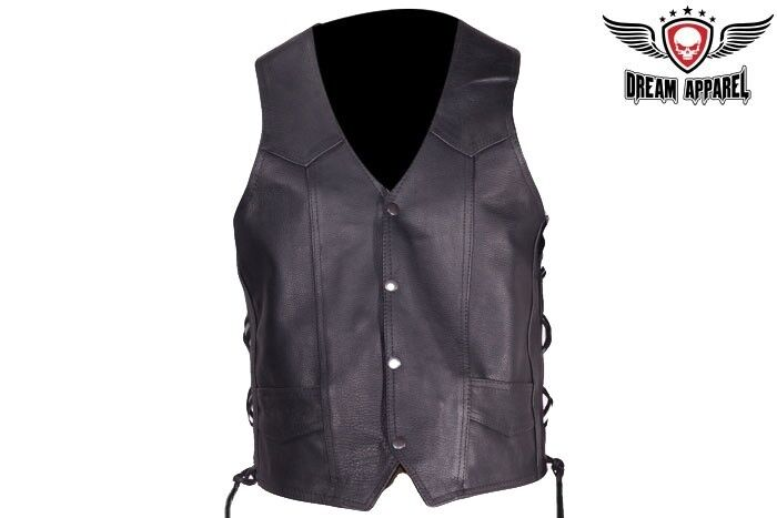 Mens Leather Vest With Side Laces MV303-CP size 56-58