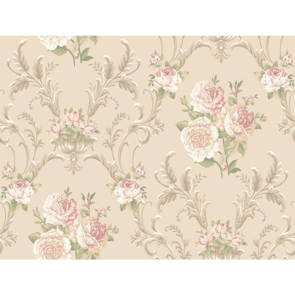 Wallpaper Designer Floral Scroll Peach White Red Pink Green On