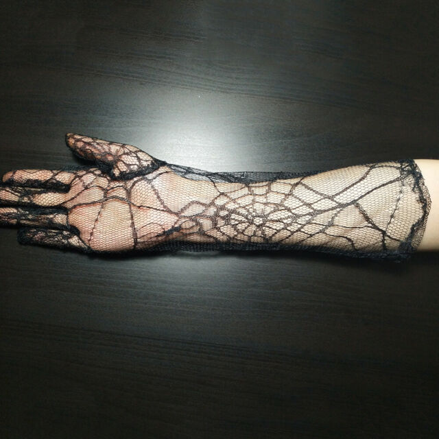 1 Pair Halloween Gloves Fashion Spider Web Lace Supplies Cosplay Props for Party