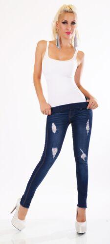 Damen Jeans Hose Legging Röhrenjeans Skinny Stretch Denim Risse hoher Bund