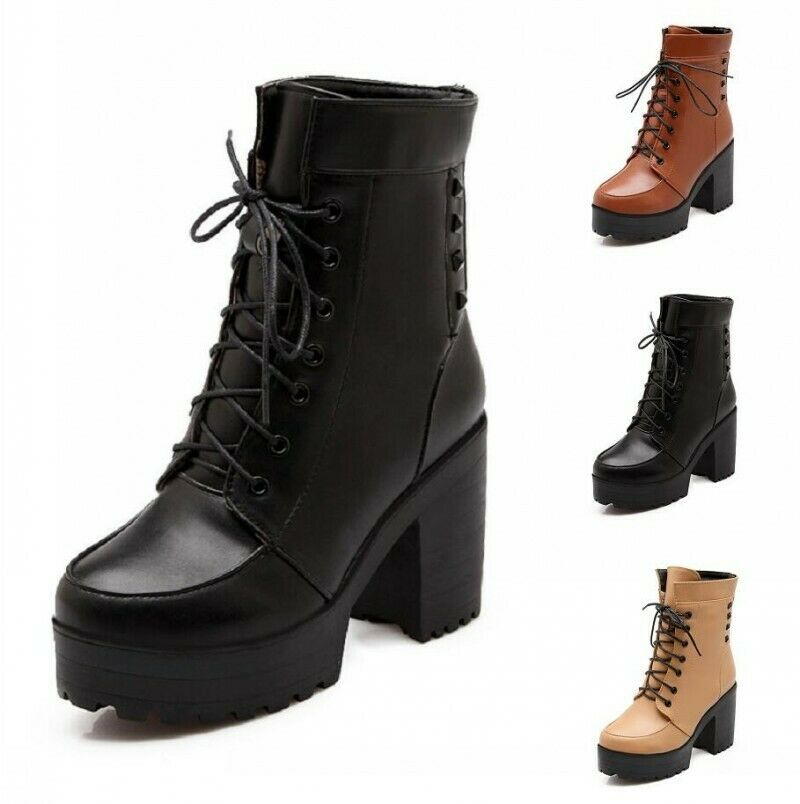 34/43 Women's Studded Rivets Round Toe Lace Up Platform Block Heel Ankle Boots D