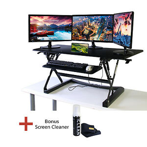 Boost STS-DR46 Sit-to-Stand Desk Riser with Gas Spring Height Adjustment Bundle