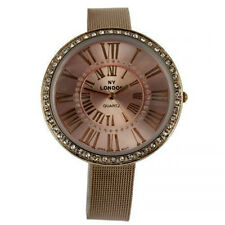 NY London Over Sized Big Dial Women's Rose Gold Crystal Mesh Bracelet Watch