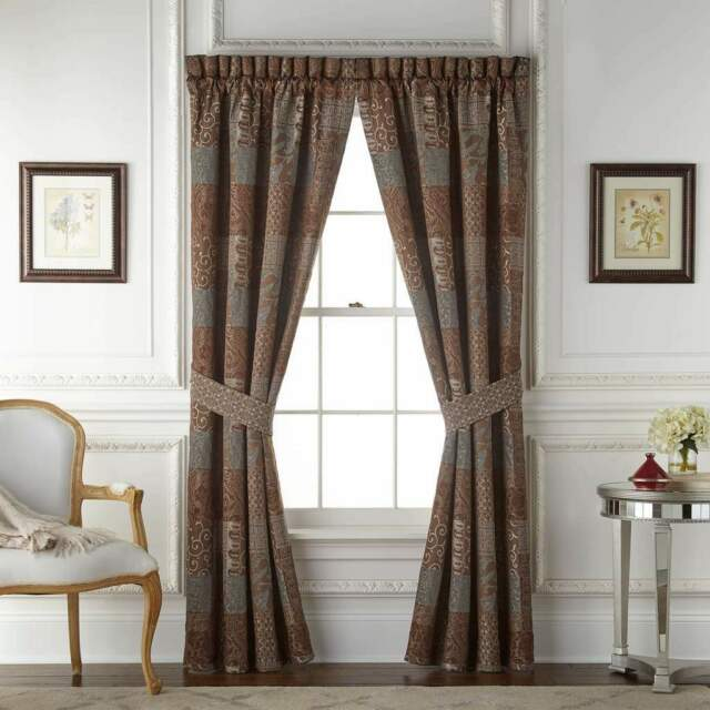 Croscill Galleria Lined Drapes Brown Aqua With Tiebacks 4pcs 1q For Sale Online Ebay
