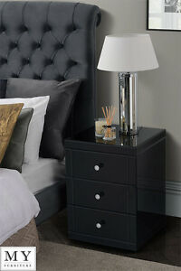 Image Is Loading  X Black Mirrored Glass High Gloss Bedside