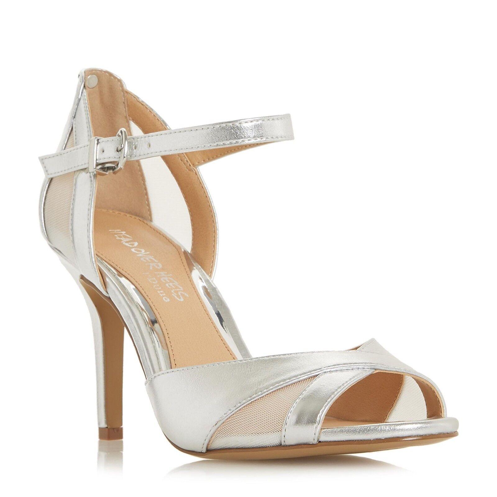 BNIB Dune Silver High Slim Heel Smart Evening Sandals Peep Toe Party shoes Sz 3