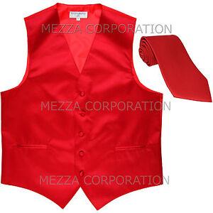New Men's Vesuvio Napoli Tuxedo Vest Waistcoat Necktie prom wedding party Red