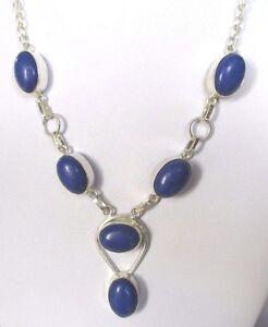 Magnifique Collier En Argent Poinçon 925 Cabochons Bleus Lapis Azuli Bijou 415