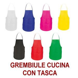 GREMBIULE-DONNA-UOMO-Tasca-CUCINA-Bar-Chef-BIANCO-NERO-ROSSO-BLU-VERDE-GIALLO