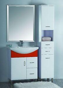 Mobile mobiletto bagno arredo bagno corredato di colonna laterale e specchio ebay - Colonna bagno mercatone uno ...