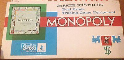 Monopoly Vintage 1961 Parker Brothers Board Game Complete