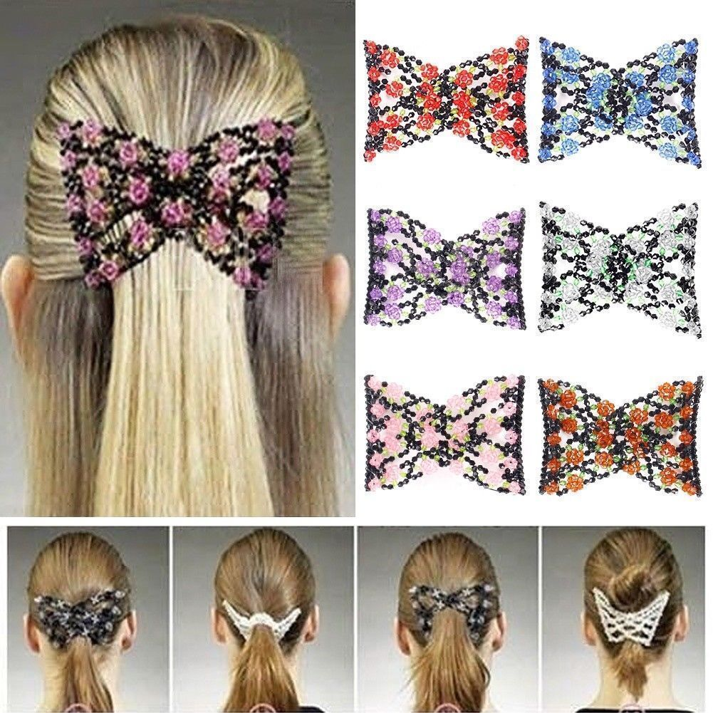 Fashion Double Hair Comb Magic Beads Elasticity Clip Stretchy Hair Combs DE HOT