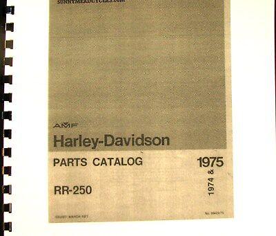 1974-1975 Amf Harley-davidson Mar-1977 Catalogo Ricambi Per Rr-250#99429-75 Attraente E Durevole