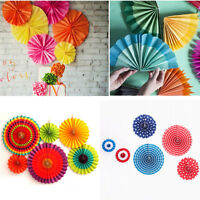 6Pcs Colorful Round Paper Fan Garland Hanging Wedding Party Home Decor Birthday