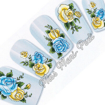 Nail Art Water Transfers Stickers Wraps Decals Blue Yellow Roses Flowers G089A
