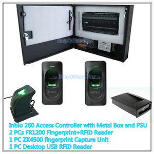 Details about ZKAccess Inbio260 2-door IP-based panel Fingerprint+Card Door  Access Control Kit