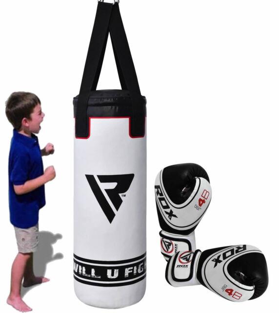 RDX 3ft Filled Kids Punch Bag Boxing Set Gloves Ball Junior Children Boys  Kick White de5248eb17df5