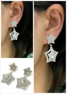 Silver-Diamante-Star-Drop-Dangle-Clip-On-Earrings-Crystal-Bridal-Non-Pierced