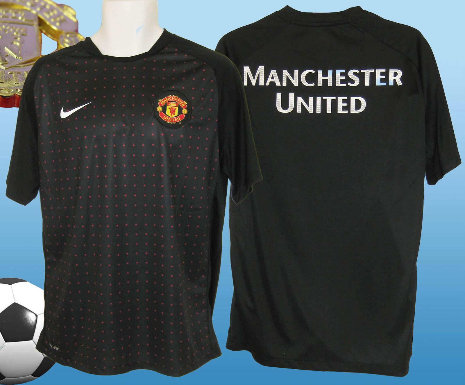 Nike Manchester United Fußball Training Vor-Match Hemd Hemd Hemd Schwarz Rot Punkte M 061d5b