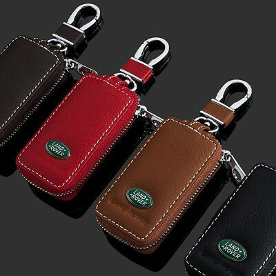 Leather Car logo Keyfob KeyChain Key Case wallet bag Remote Control Case Black