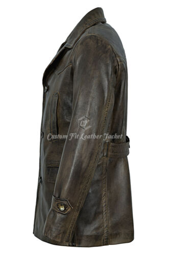 Mens Leather Jacket Vintage Dirty Brown 100/% REAL NAPA World War 2 Coat DR-WHO