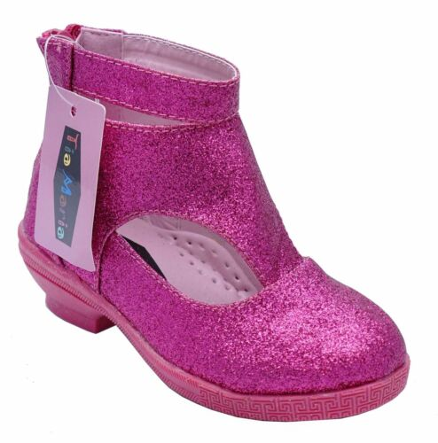 GIRLS KIDS PINK PARTY ZIP KIDS LOW HEEL DRESS BOOTS PARTY SHOES UK 8-3