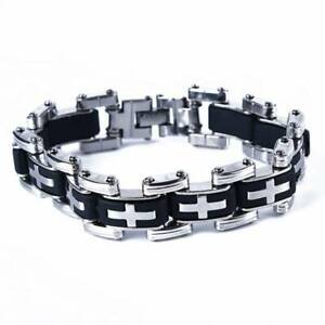 Fashion-Men-039-s-Fashion-Stainless-Steel-Silicone-Cross-Charm-Bracelet-Jewelry-6A